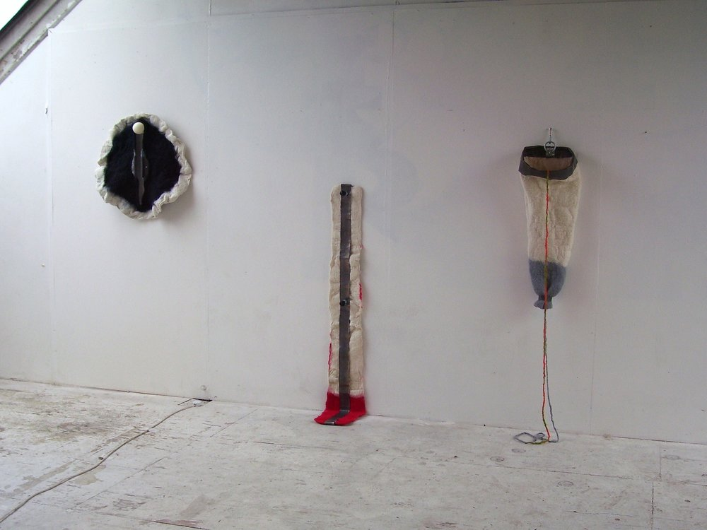 In situ at Tactilebosch studios 2011, handmade felt, lead, wood and other bits and bobs.