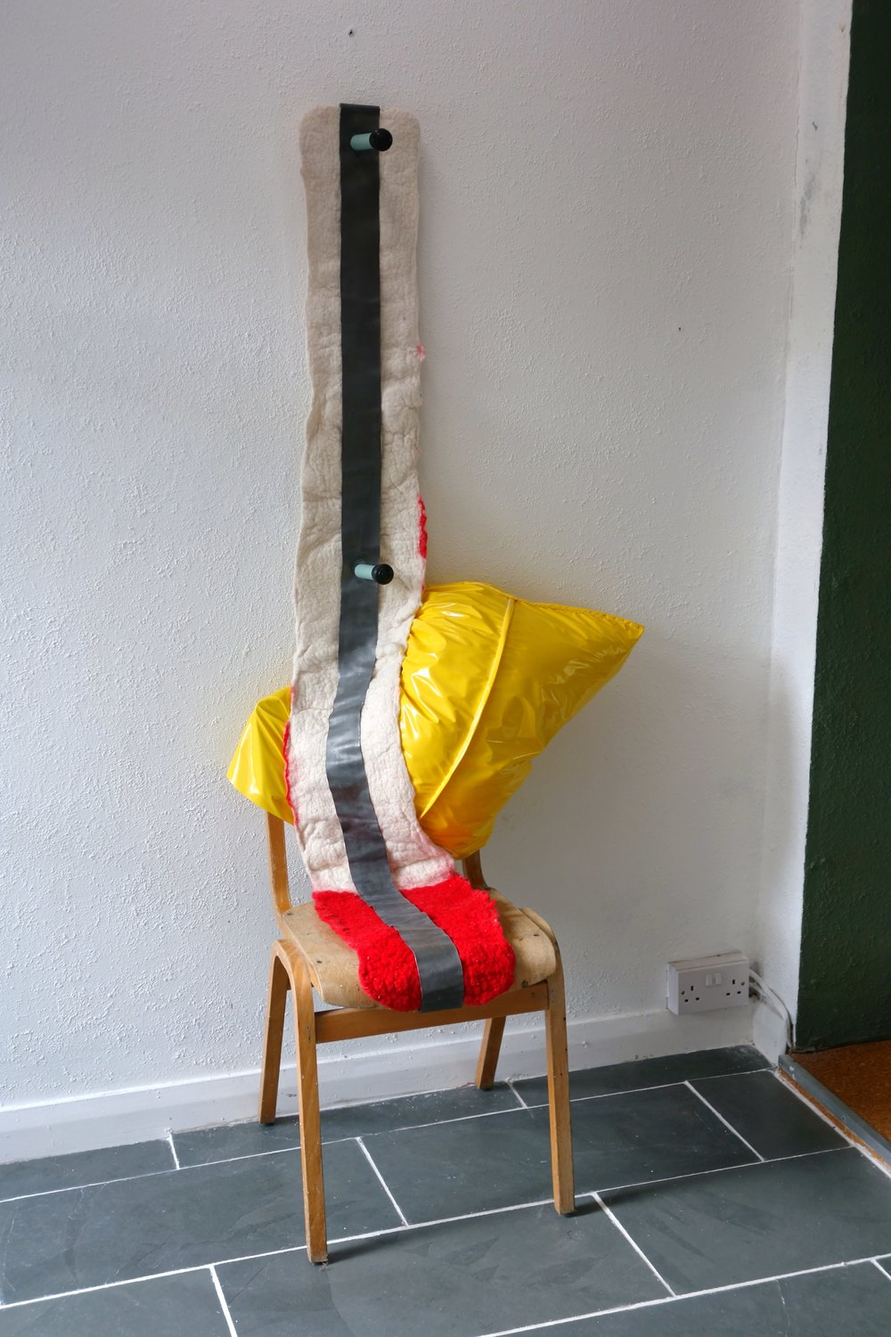 working from home 2012, chair handmade felt, lead, pvc and other bits and bobs.