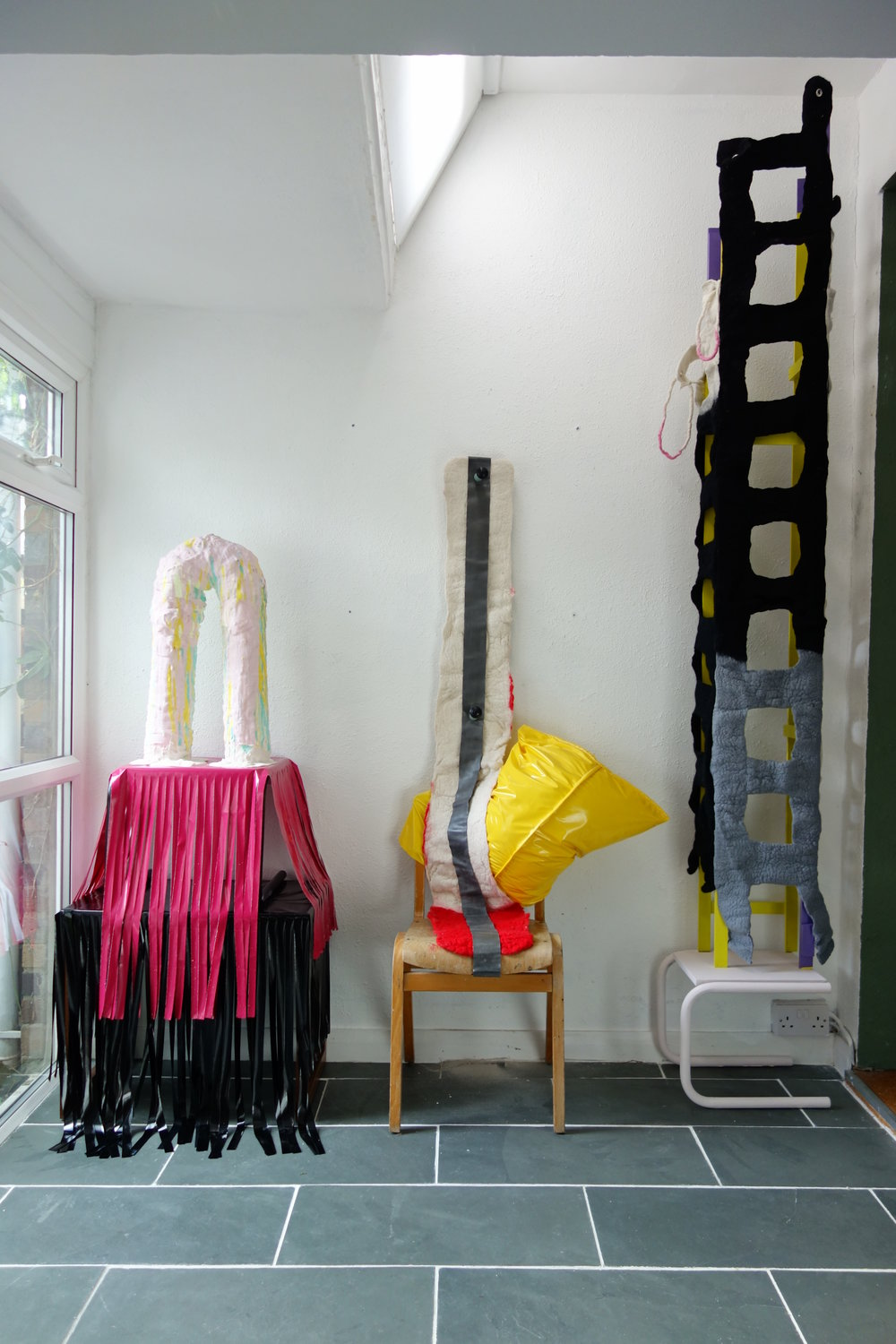 working from home 2012, furniture, pvc, handmade felt, lead, wood, plaster and other bits and bobs