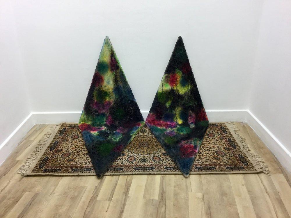 Untitled, acrylic on fleece with rug, 2017
