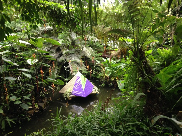 Untitled, pyramid, fabric, tinfoil and spider plants.  installed at Roath park conservatory for Made in Roath festival 2017.