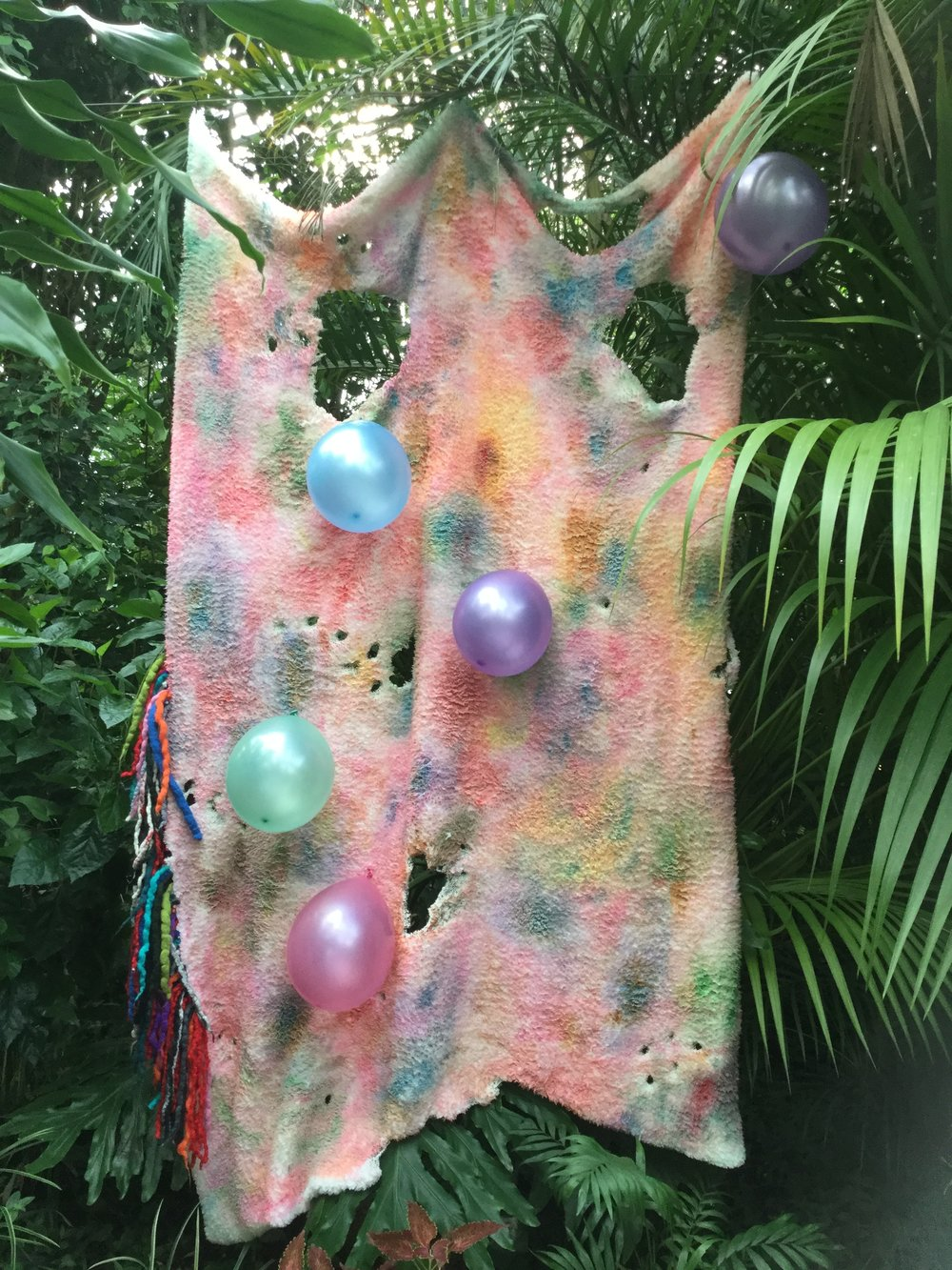 Untitled, acrylic, balloons and felt on fleece.  Installed at Roath Park Conservatory for Made in Roath festival 2017.