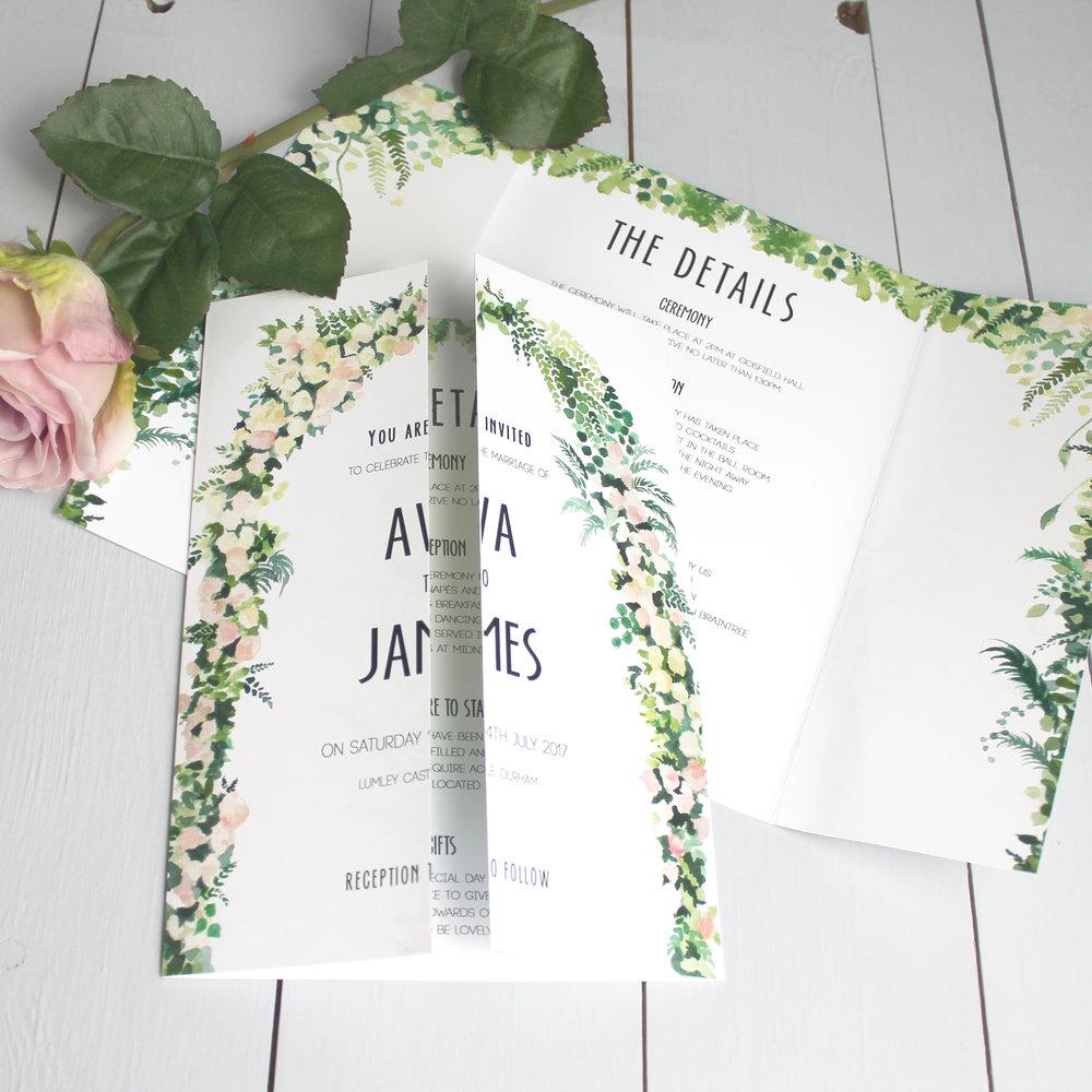 Floral Arch Gate Fold Wedding Invitation