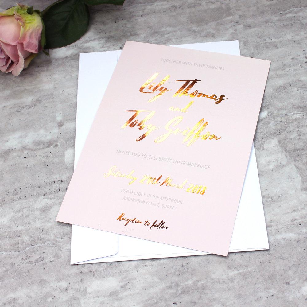 Copper Foil Wedding Invitation