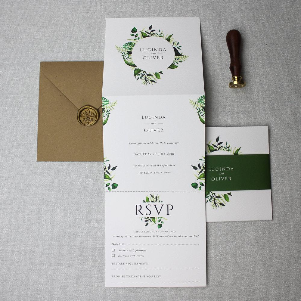 Botanical Wreath Wedding Invitation