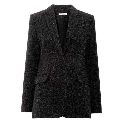 Charcoal wool with a longline silhouette, this tailored Whistles blazer looks presentable straight off the plane.
