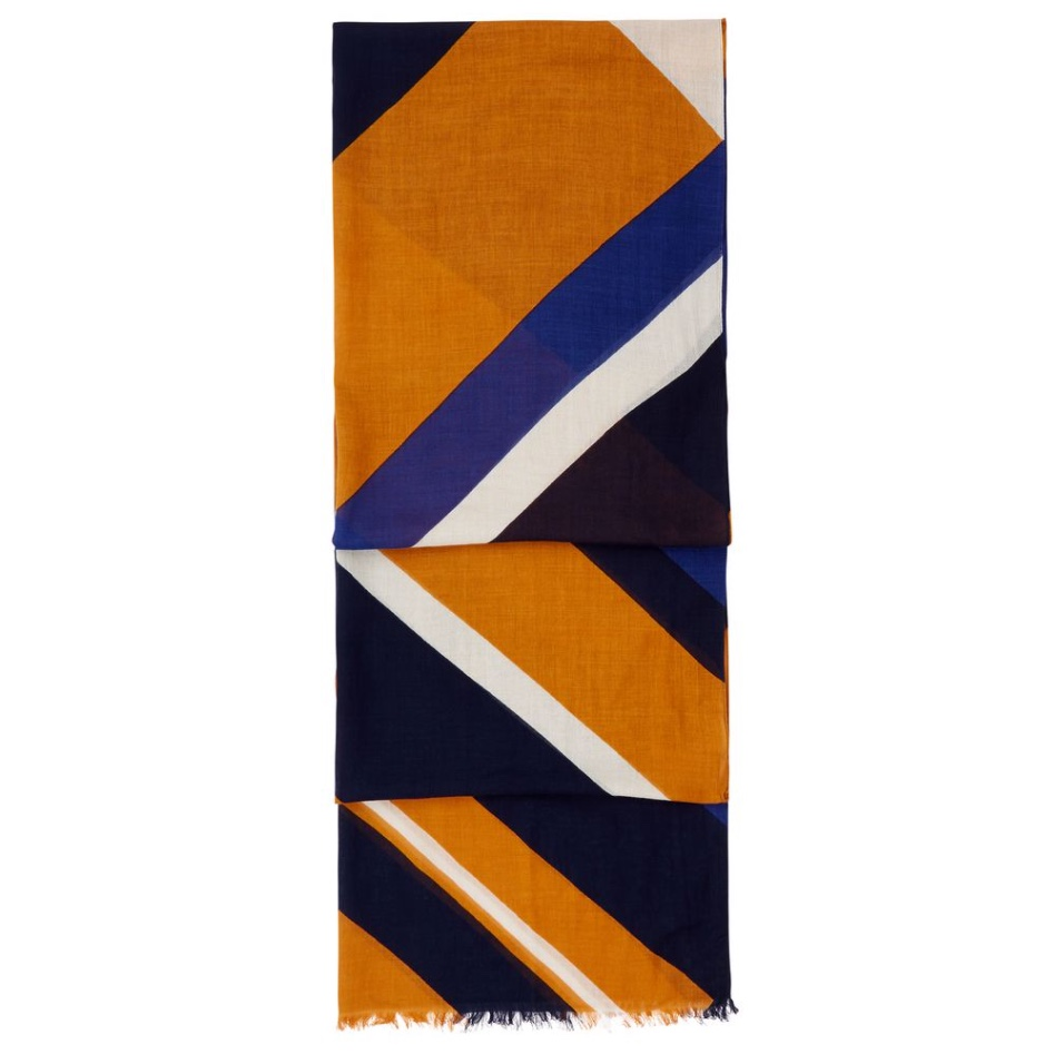 Add interest and colour with this ochre and blue graphic print scarf from Hobbs and use it to cover up if the flight gets chilly.
