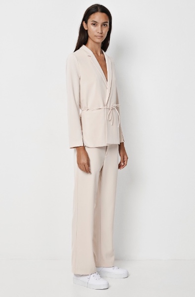 Softly Softly  Danish brand Samsoe & Samsoe delivers the requisite simple Scandinavian silhouettes. The Evin blazer and Avian trousers are in a soft pink, for a relaxed take on tailoring.   Blazer  - £135   Trousers  - £100