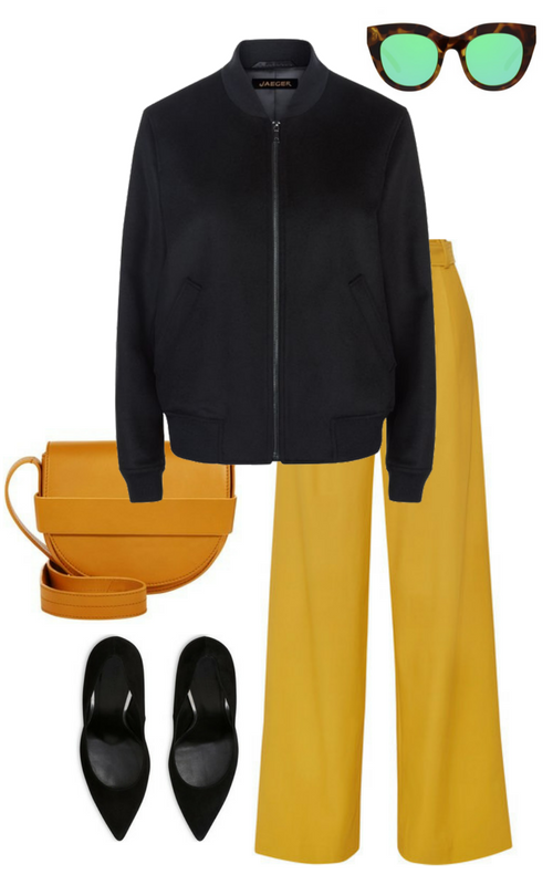 Jacket, sunglasses, bag, court shoes, wide-leg trousers.