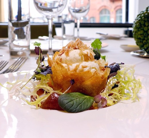Where: OpusWhat: Crispy filo goat's cheese basket - Little known fact: this is vegetable-loving Opus' second best-selling starter after their fishcake. Made from veggie rennet, the cheese has a dark honey aroma and the quick fried sweet onions a crispy texture. Menu.