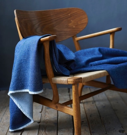 Indigo - Lanecreate covetable homeware just up the road in Nottingham. They've joined forces with London Cloth Company to create a range of products in two colours — indigo and un-dyed natural white cotton. Soften the boldness of the blue with natural fibres or pastel shades.Pictured is the throwfrom the collab.