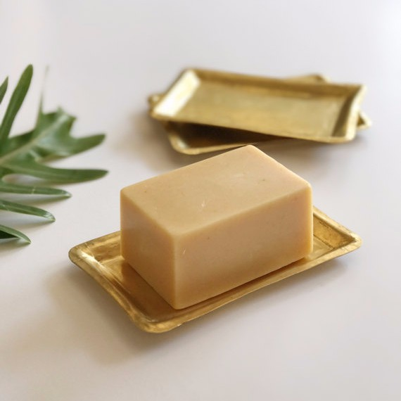 These soap dishes are handmade and hammered out of  Nepalese brass .