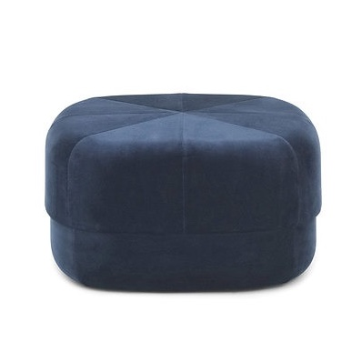 The  Circus pouf  is an adaption of the Moroccan leather staple. Added plushness thanks to velvet upholstery.
