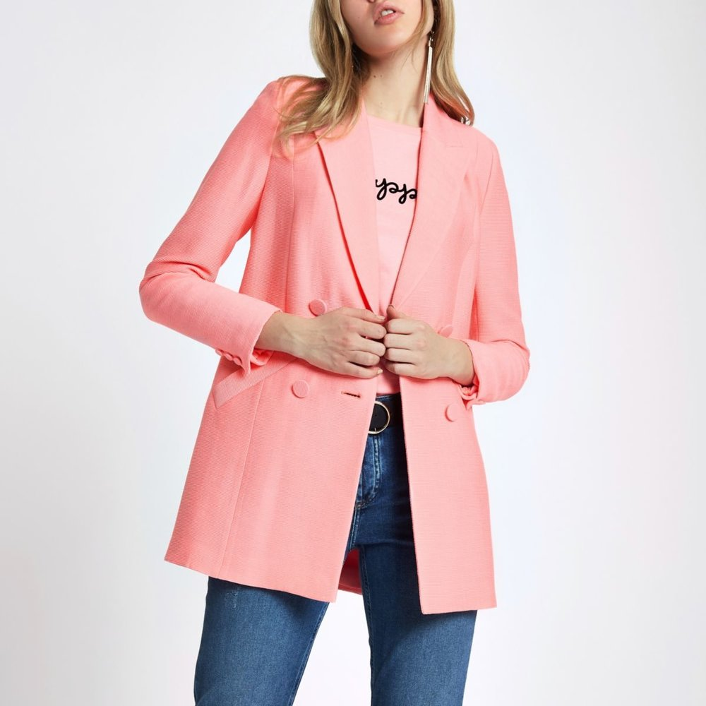 - River Island £75Candyfloss pink and double-breasted is the way to achieve peak 90s in the jacket depo. From River Island, this option won't break the bank. So if you decide in two months you hate the colour pink with a passion — no biggie. Pair with high-waisted mom jeans for maximum nostalgia.