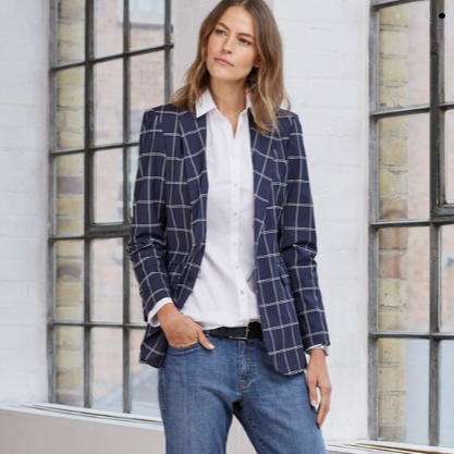 - Baukjen£219Baukjen is a London-based brand whose founder was born and raised in Amsterdam. This Evelyn check blazer has a laid-back Dutch cool that is polished and modern. Stretch wool means it's super comfy too. Perfect for the office, on top of a crisp white shirt and with some open back loafers.