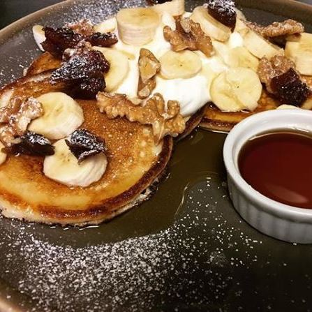 Lewis's   buttermilk pancakes are served til 3pm on weekdays. Top 'em with bacon and maple syrup. Or bananas and walnuts. You do you.