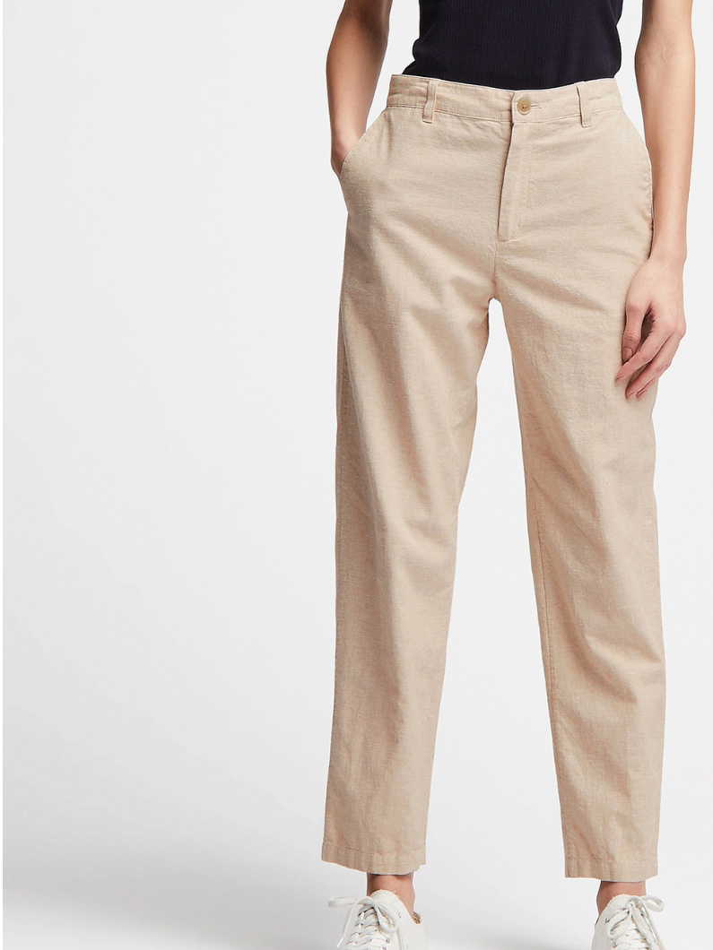 Tapered linen   Uniqlo trousers   are crying out to be paired with a beige top and a pop of bright colour