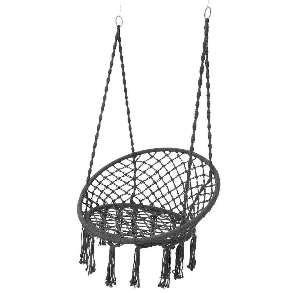 When you've beautified your space, take a seat on this hanging   macrame chair