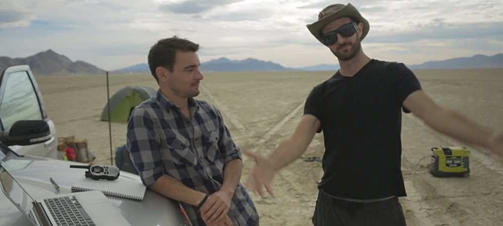 Wylie Overstreet and Alex Gorosh at Black Rock Desert for filming  To Scale: The Solar System .