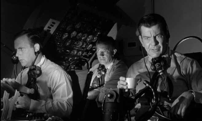 The crew of Flight 60 struggle to regain control in the movie  The Flight That Disappeared .