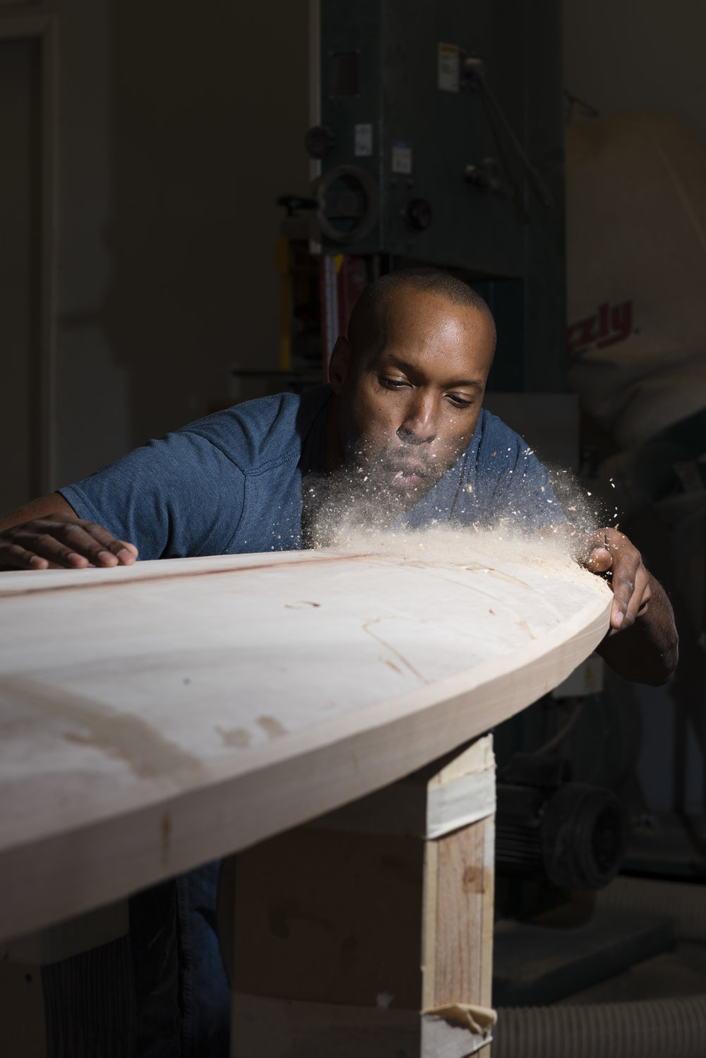 Tony working on a board