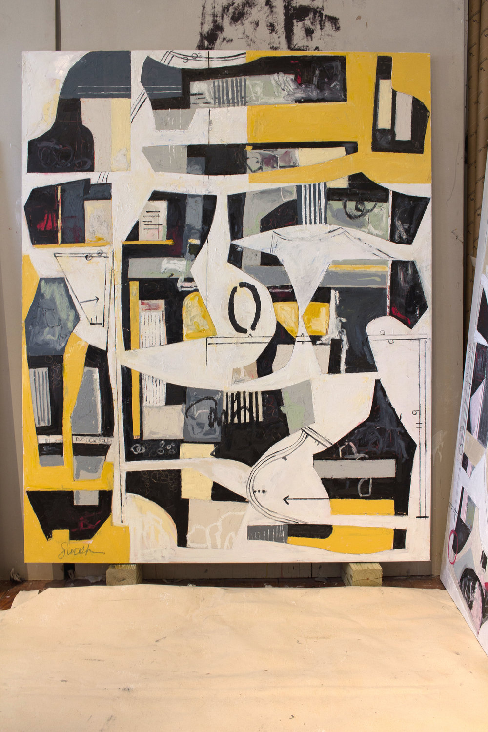 Deconstructed Yellow - 4' x 5' Oil on canvas.This piece has been sold