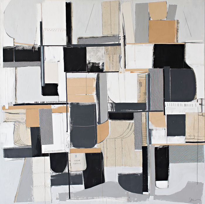 "Untitled No. 12 - 48 X 48"" Acrylic, textile and paper on canvasThis piece has been sold"