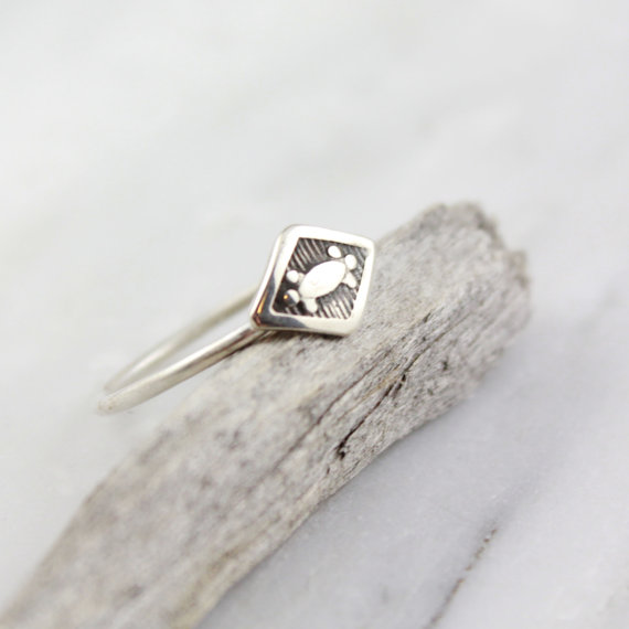 e60274e1140 Delicate Stamped Silver Diamond Stacking Ring — Sarah DeAngelo ...