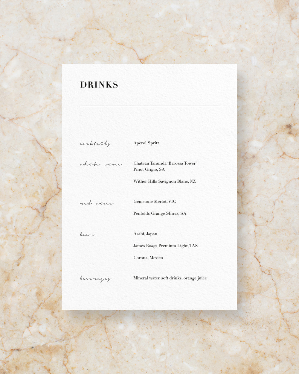 Drinks Menu I