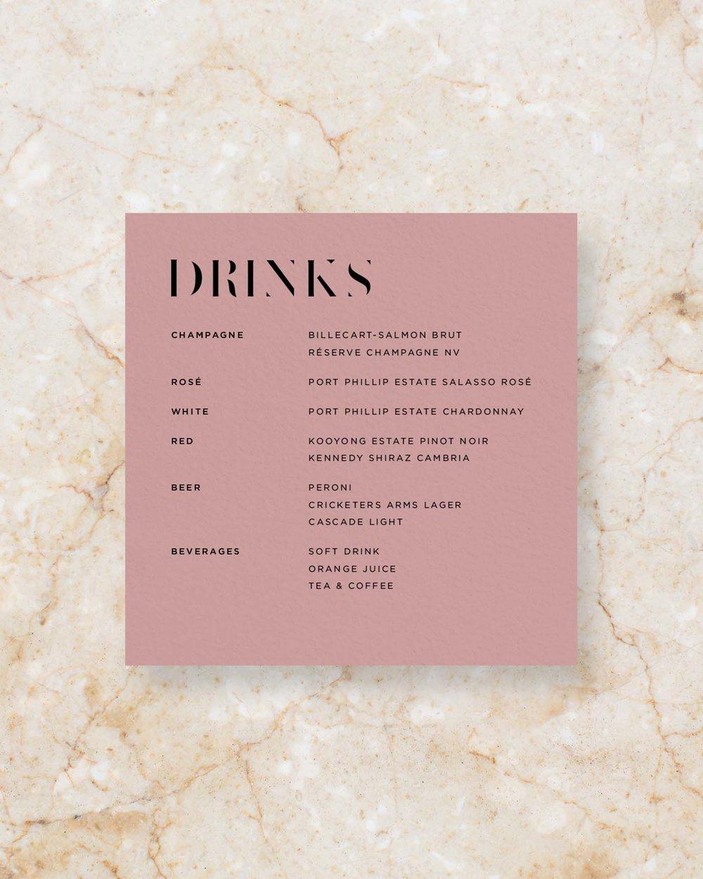Drinks Menu - Rose