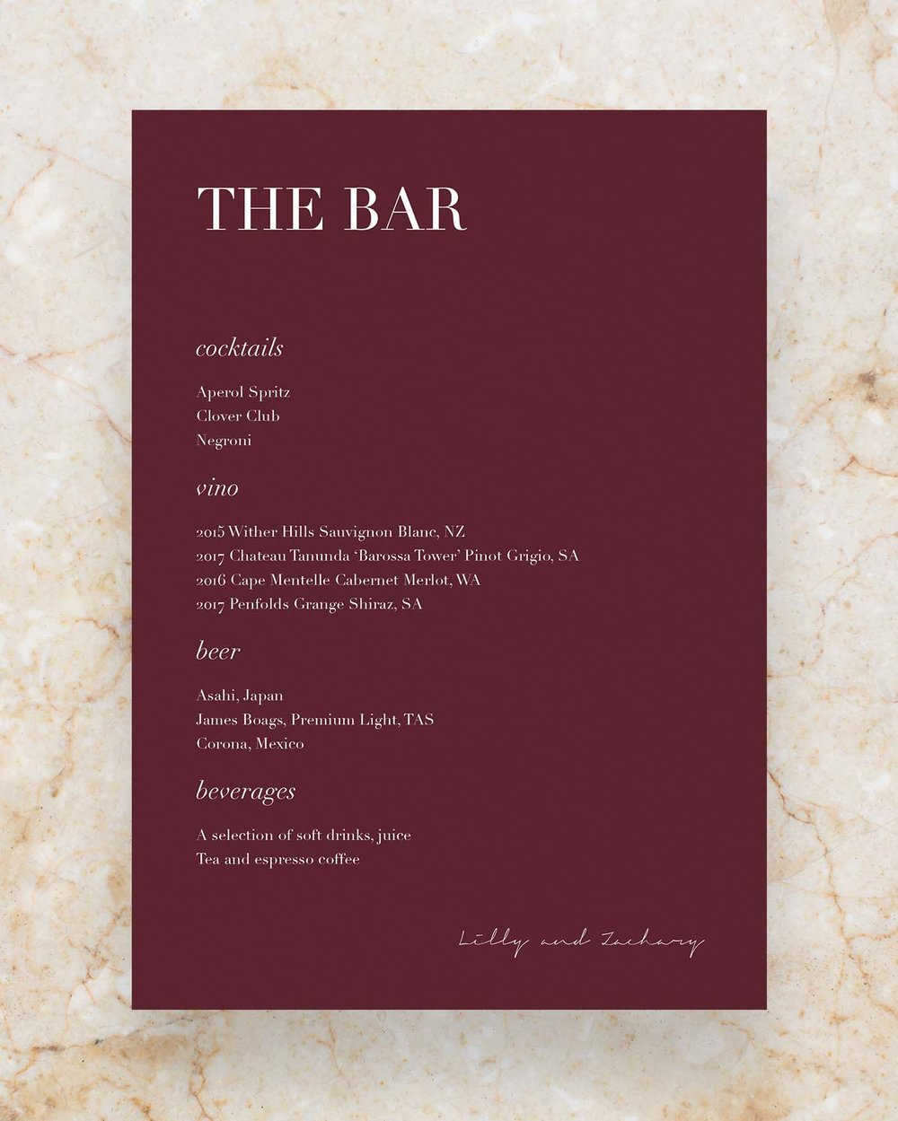 Drinks Menu - Claret