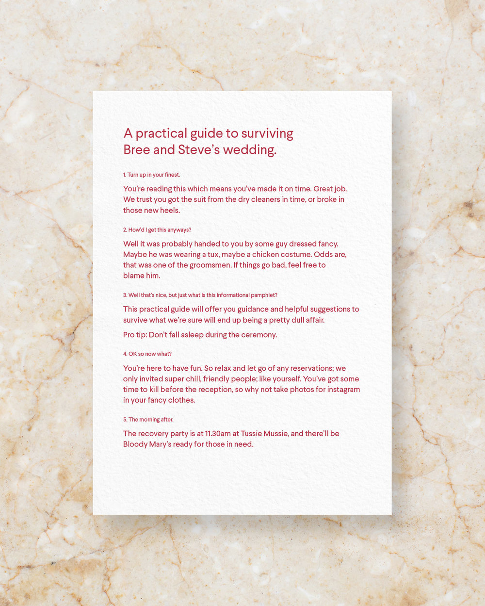 Ceremony Card Front