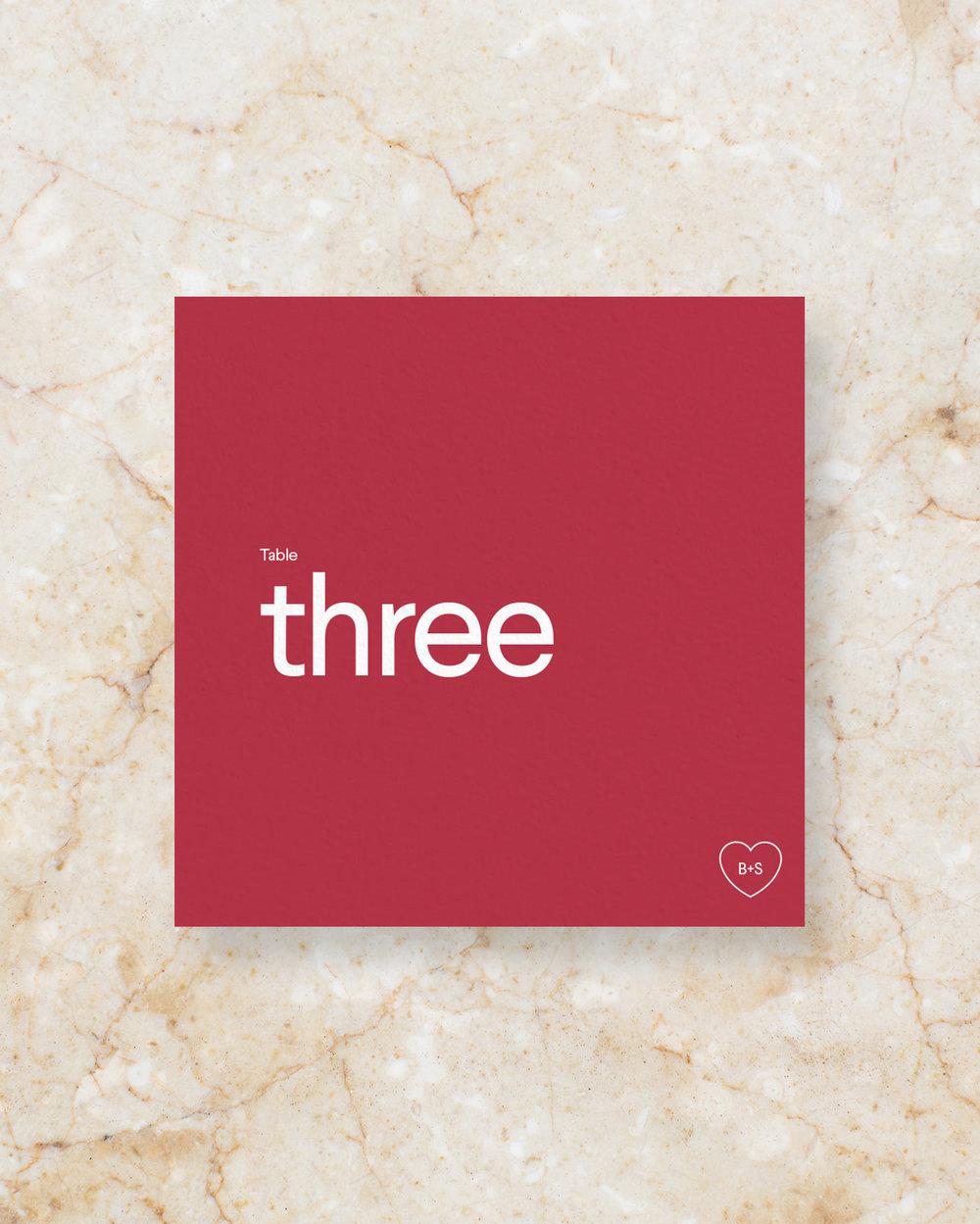 Table Number - Scarlet