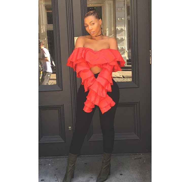 Rox Brown, @rox_brown, wearing @slashedbytia.