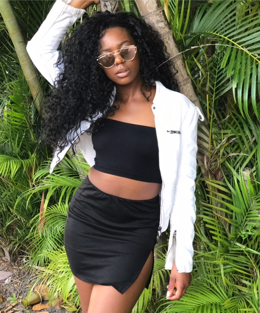 Express White Denim Jacket, Tube Top and basic black, split skirt with TrendGal's shades.