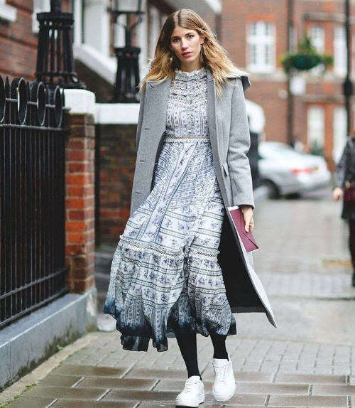 Look 2: Longline wool coat, chiffon midi dress & white sneakers. Photo credit: @lookastic
