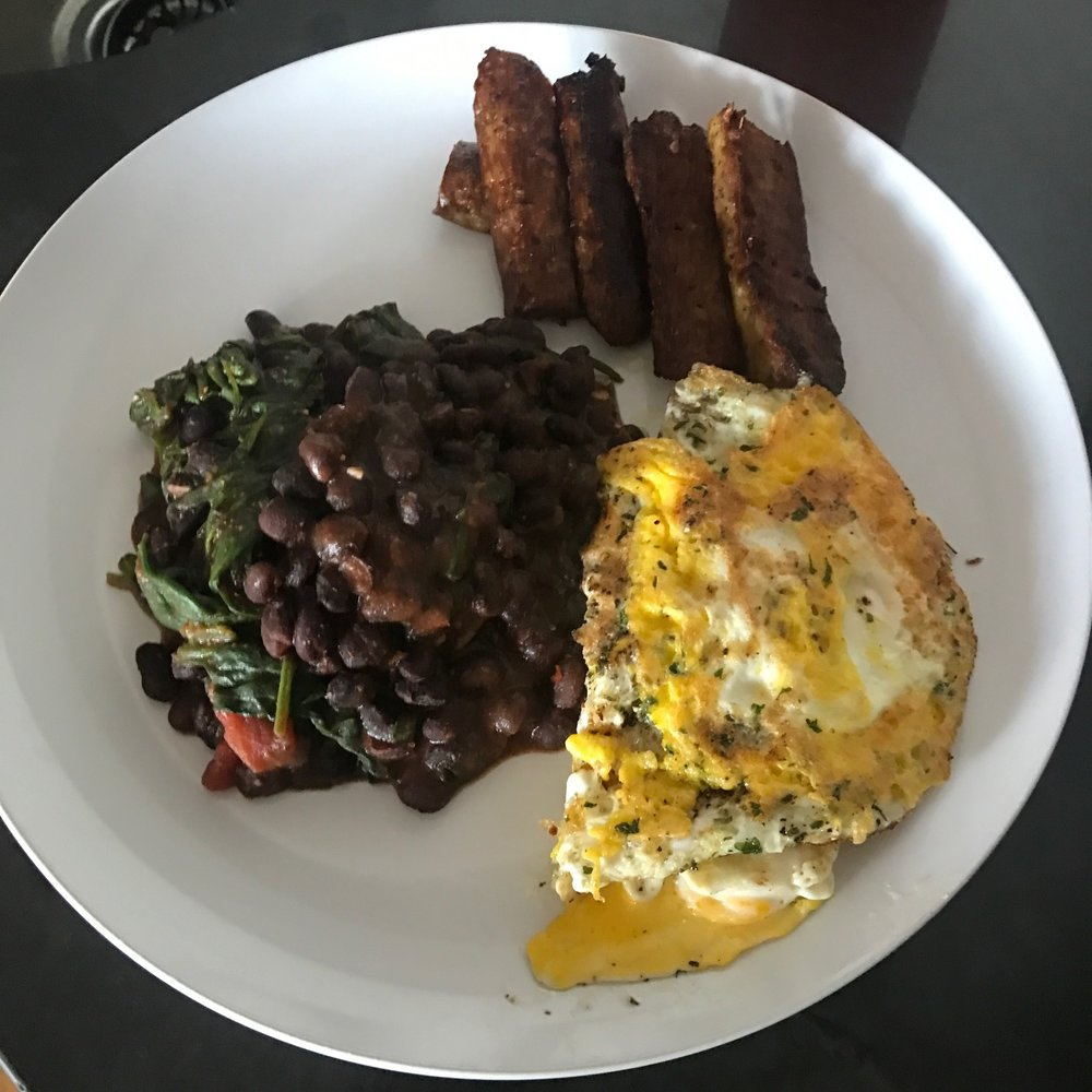 """PROEIN x3 ""- BLACK BEAN SPINACH MIX, SAUSAGE-LESS SAUSAGE & BROWN EGGS WITH PARSLEY."