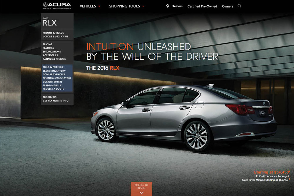 Acura.com — on lexus website, nissan website, porsche website, john deere website, land rover website, volkswagen website, infiniti website, honda website, aston martin website,