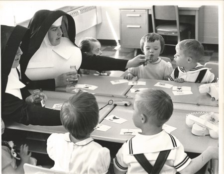 The Mercy centre was founded by the sisters of mercy and catholic charities in 1961. students ages seven to sixteen attended the program. the sisters of mercy made up the entire staff.
