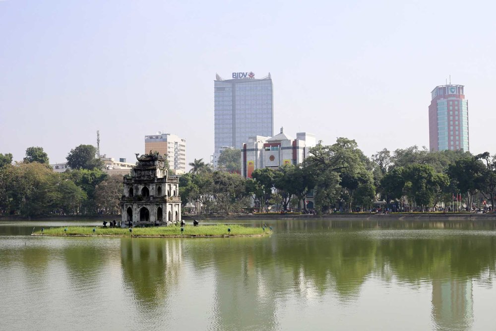Our walking guide said, if you haven't seen Turtle Tower at  Hoàn Kiếm Lake , then you haven't been to Hanoi.  He also said it was good luck if you saw a turtle out on the island, but I'm pretty sure he was fucking with us.