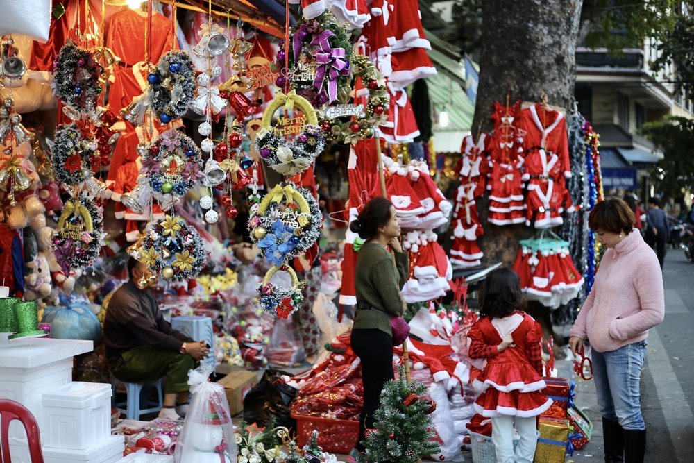 We haggled for Christmas decorations in Christmas Village, a street in Hanoi that was exclusively selling Christmas decorations.