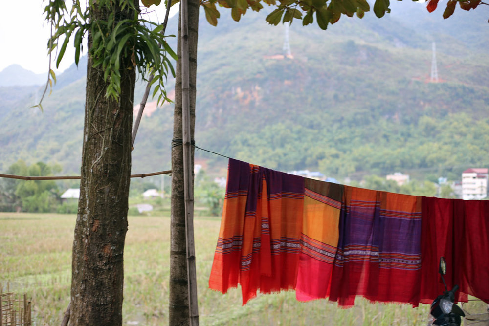 Pretty sarongs in Mai Chau. One woman about to be married, said she needed to make these for the entire husband's family before the marriage could take place. I would clearly be single in Mai Chau.