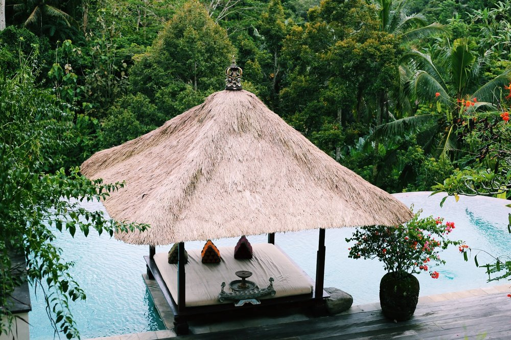 Our badass Ubud villa, complete with four suites, this pool, and around the clock staff. Not exactly backpacking.