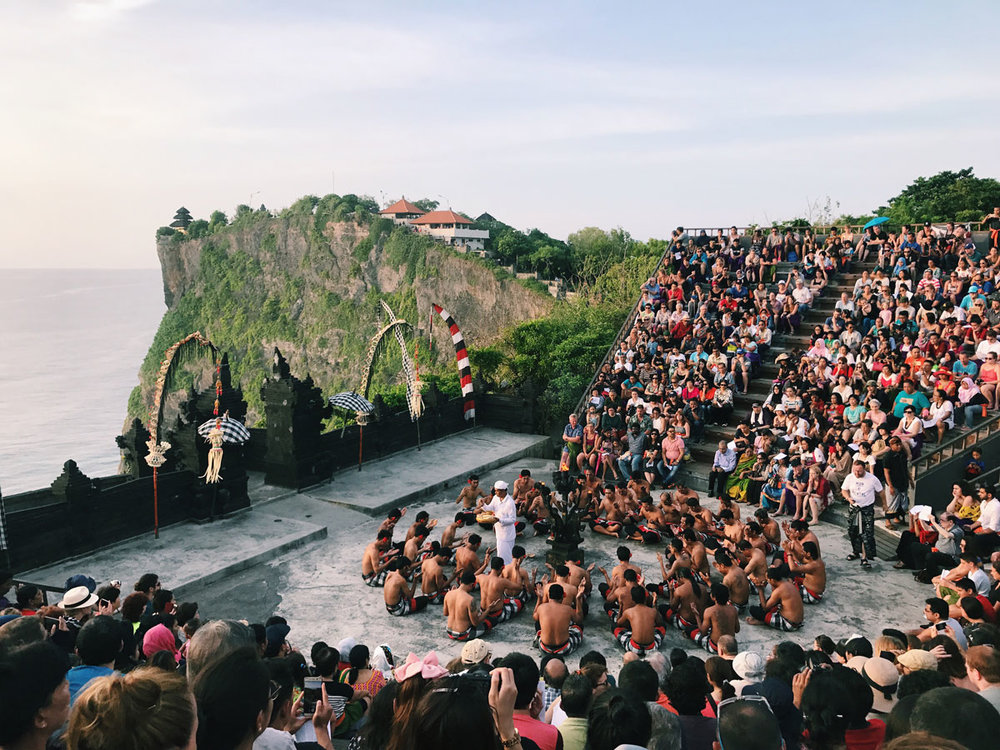 The kecak at Uluwatu at sunset: A choir of men chanting, telling, and singing the story of Rama, Sutra, and Ramahan in front of the gorgeous Uluwatu temple.