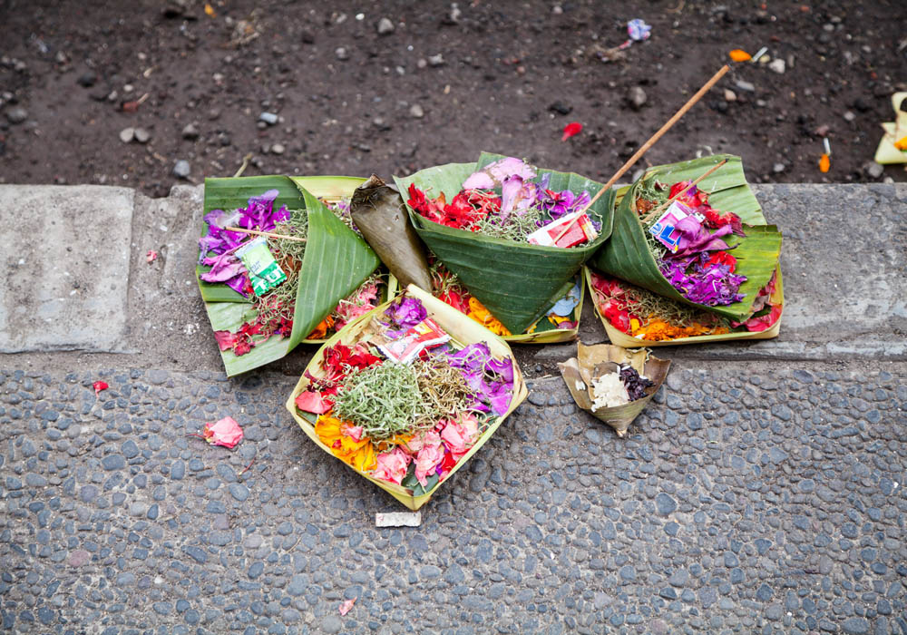 Small offerings on a street corner in Bali, photo from  Indoneo .
