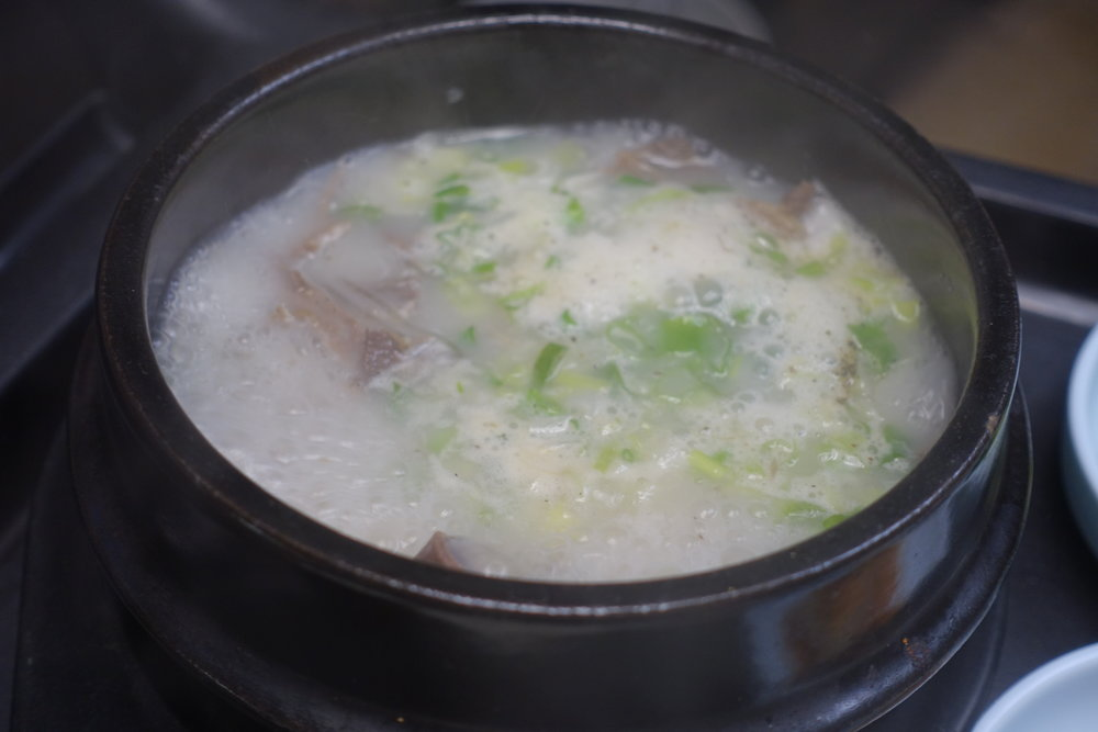 Ox bone soup with beef tongue