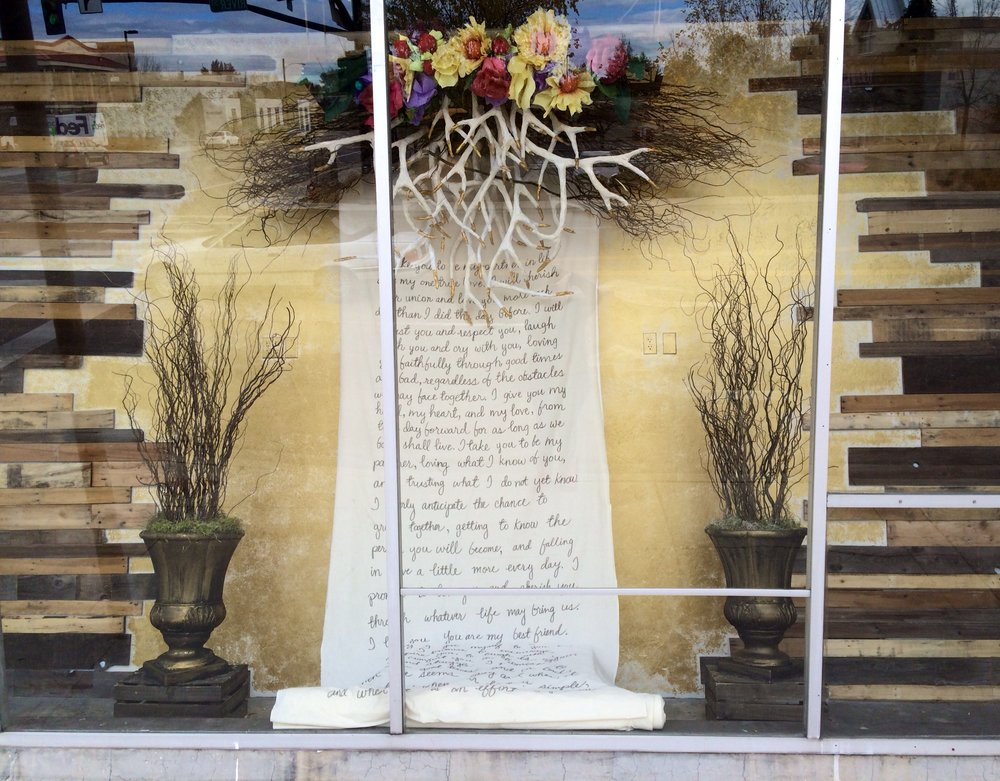A hand written scroll of vows to keep forever. You can rent this one from our rental gallery!
