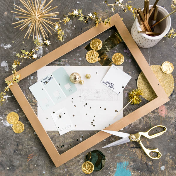 Gold bursts and confetti highlights against a pencil sketch, new logo and paint samples... this will be a totally new Bliss.