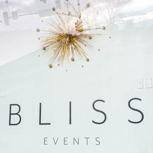 The modern, sleek window launching a newly designed Bliss Events.