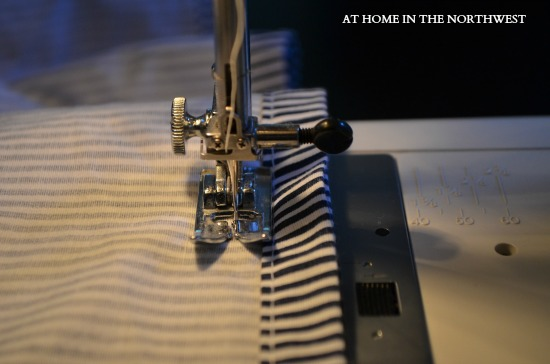 sewing duvet  at home in the northwest